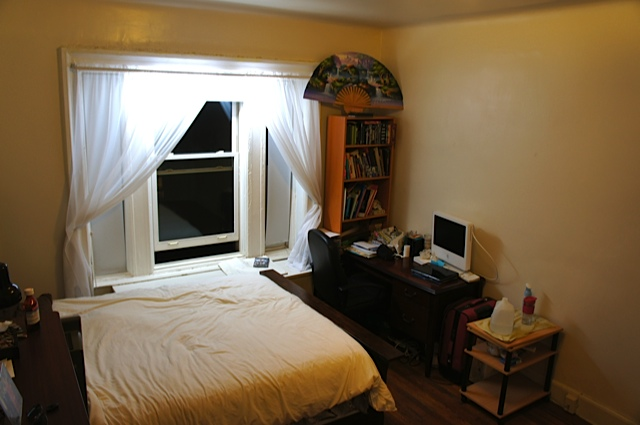 l a r g e master bedroom in a real quiet and clean two